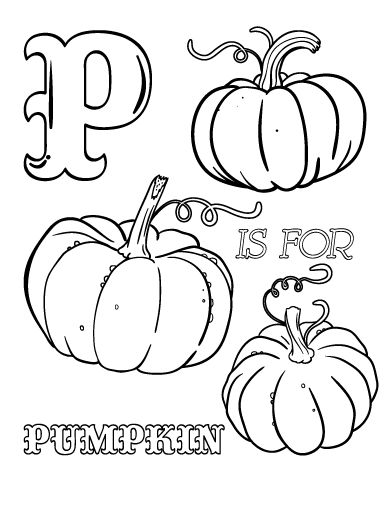 printable p is for pumpkin coloring page free pdf download at http - Pumpkin Coloring Sheets Printable