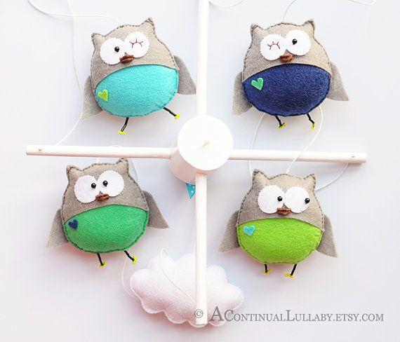 Mobile bébé hibou, Baby Boy Mobile, chouette et nuage, bleu marine-gris vert