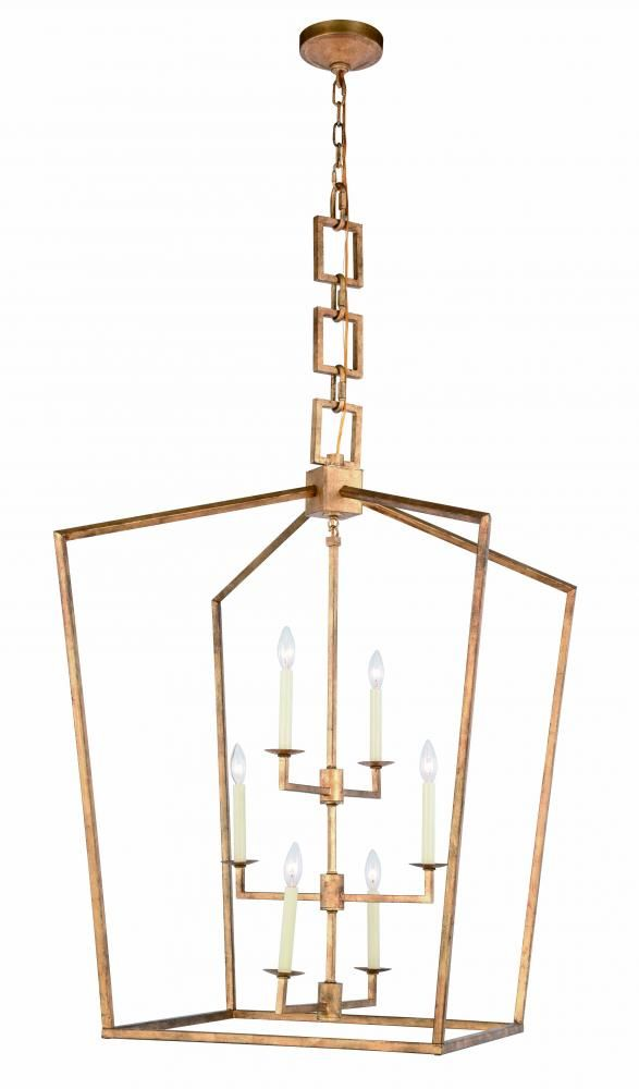 1512 Denmark Collection Chandelier L:29in W:29in H:43.5in Lt:6 Golden Iron Finish : HUP8F | Legend Lighting Inc.