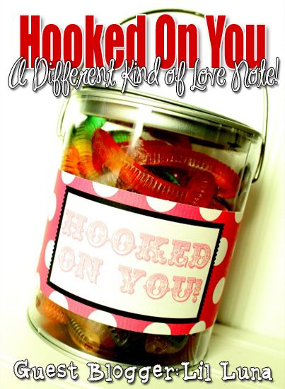 Hooked on You. Cute gummy worm #gift