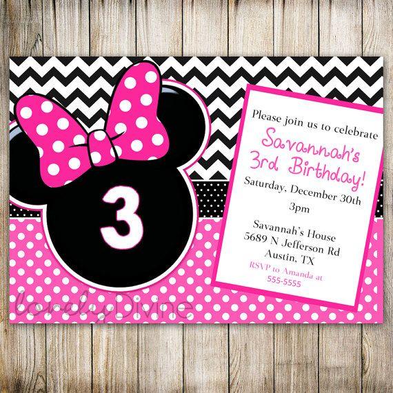 minnie mouse chevron birthday 1st birthday invitation 2nd birthday invitation 3rd birthday invitation