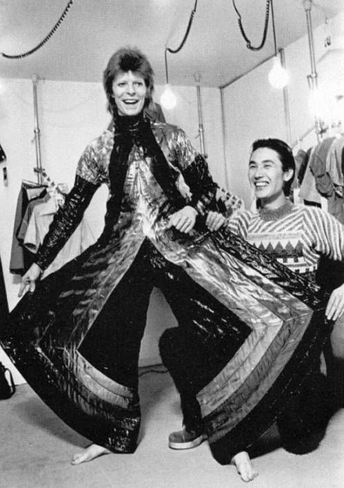 David Bowie and Kansai Yamamoto in Japan, 1973.: Bowie Ziggy, Baby Bowie, Costumes Design, David Bowie 1973, Bowie B W, Bowie Bw, People, Music David, Kansai Yamamoto