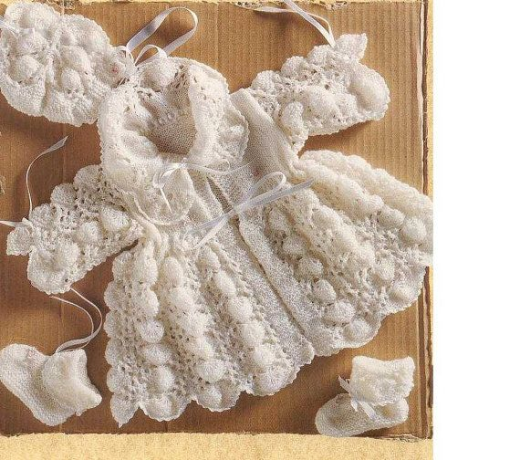 Baby KNITTING PATTERN   Matinee Coat Bonnet and by carolrosa