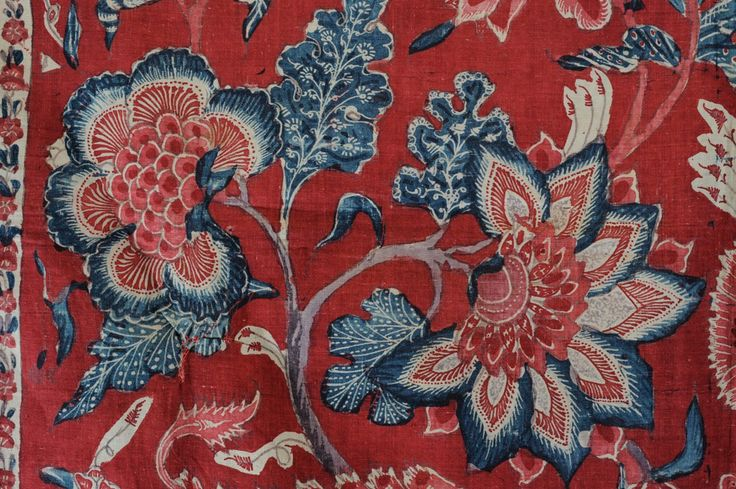 1700s Indian Chintz fabric. Vivid dyes from India made these highly sought after by English women.