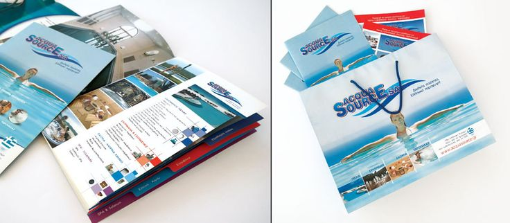 Custom Design and Special Printing of Acqua Source's Corporate Brochures and merchandise by ThinkBAG.  16pages Company Profile Brochures with special paper, mat lamination and categorized cutting mold   Advertising bags of trade shows for gifts & flyers