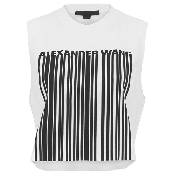 Alexander Wang Women's Cropped Logo Barcode Tank Top - Silica And Onyx ($210) ❤ liked on Polyvore featuring tops, crop tops, shirts, t-shirts, white, crop top, white crop top, white crop shirt, logo tops and white top
