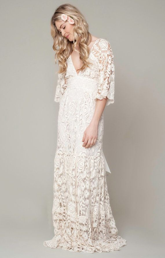 Bohemian Wedding Dress Roses French Lace Gown
