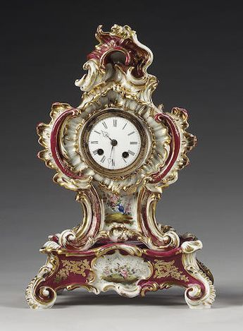 A Jacob Petit clock and base, mid 19th century,