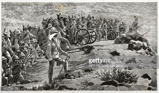 Stock Illustration : Italian artillery in Abyssinia, engraving, First Italo-Ethiopian war (1895-1896), Ethiopia, 19th century