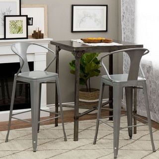 Tabouret Silver with Back 30-inch Bar Stools (Set of 2) - 14381364 - Overstock.com Shopping - Great Deals on I Love Living Bar Stools
