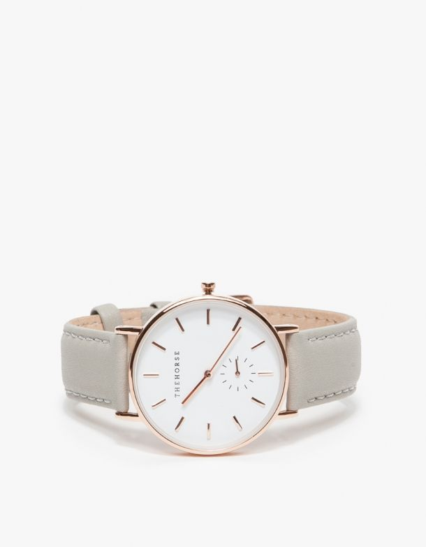 From The Horse, a timeless, narrow-body wrist watch with a clean-lined dial and a sundial to count seconds. Features a supple Italian leather strap…