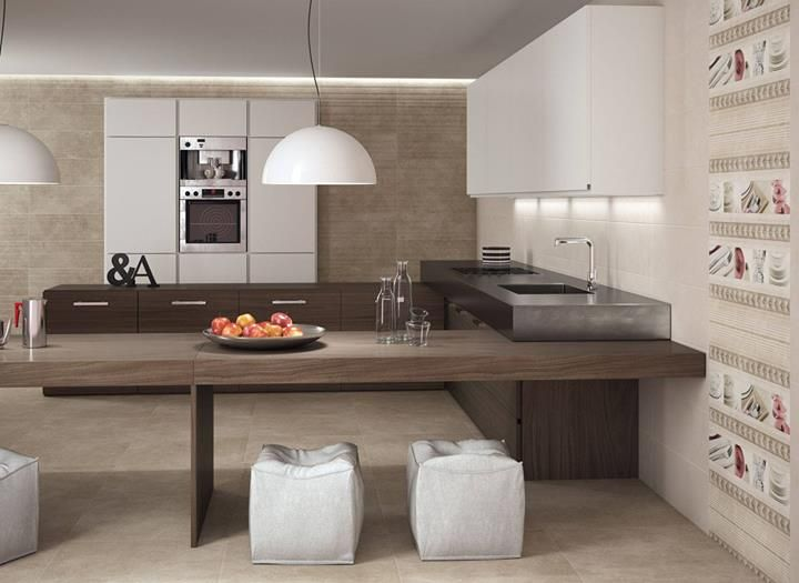 Very quiet and calm atmosphere in the #kitchen with the 7504 series. #tiles #ceramics #interiordesign