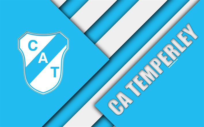 Download wallpapers CA Temperley, Argentine football club, 4k, logo, emblem, material design, blue white abstraction, Lomas de Zamora, Argentina, football, Argentine Superleague, First Division