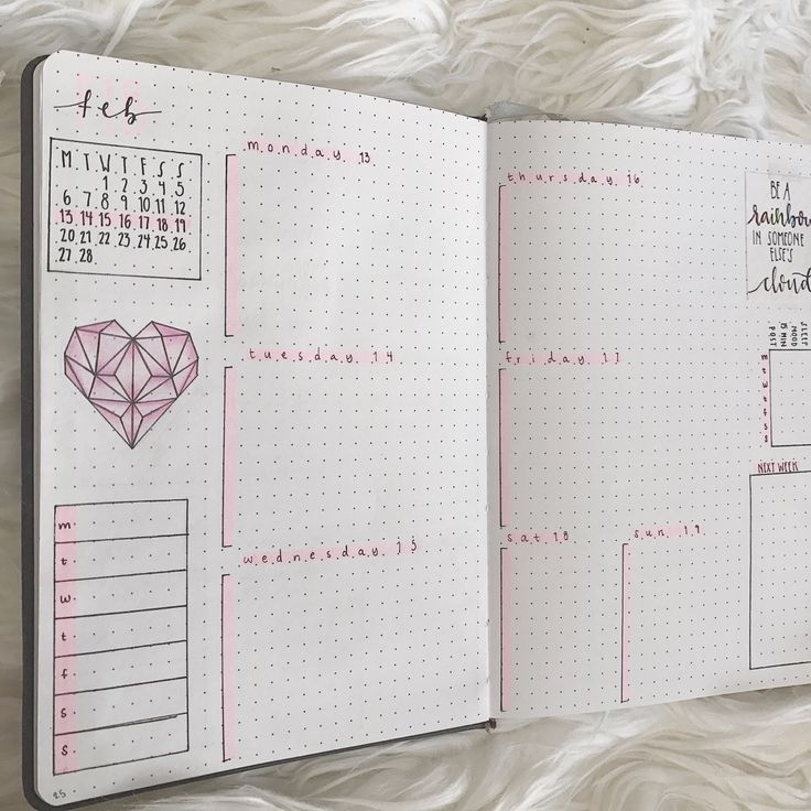 """pridebulletjournal: """"Pink theme for Valentine's Day next week! The snow on my skylight mess up my lighting, oh well. Next week I'll be starting the 100 days of productivity challenge. Check out my instagram to see all of my original work in one..."""