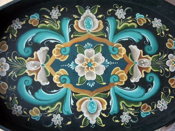 Original NORWEGIAN ROSEMALING Serving Tray Lovely Colors OOAK Turquoise Gold
