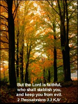 But the Lord is faithful, who shall stablish you, and keep you from evil. II Thessalonians 3:3