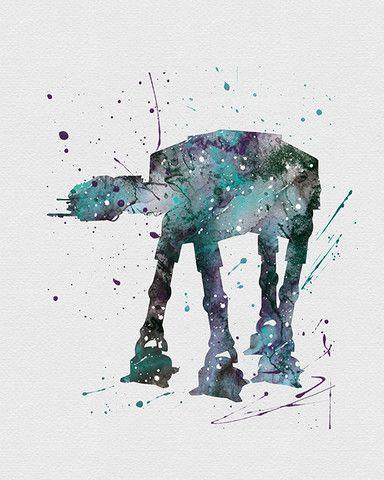 AT-AT Walker Star Wars Watercolor Art - VividEditions: