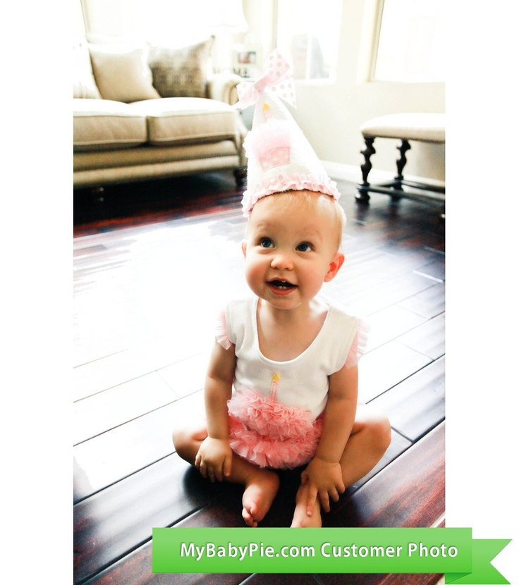 Cupcake All in One Dress with matching birthday hat. Dress is $24.95 at MyBabyPie.com.