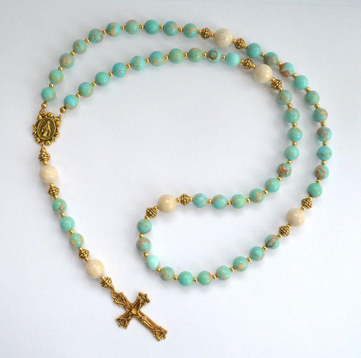 Gemstone Rosary Beads Aqua Terra Jasper and Riverstone gemstones. All Rosary Beads are made to order. Please allow 2-3 weeks for shipment. Shipping Most jewelry is made to order. Therefore, please all