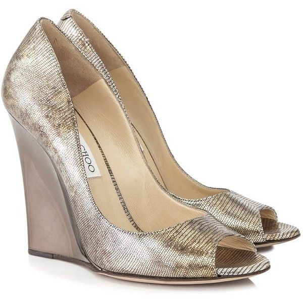 Pre-owned Jimmy Choo Metallic Leather Peep Toe Wedges ($370) ❤ liked on Polyvore featuring shoes, sandals, gold, jimmy choo sandals, wedge heel sandals, peep toe wedge shoes, wedge shoes and peep toe sandals
