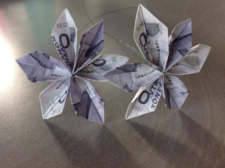 Fold penge blomster (Beskrivelse findes på you-tube)