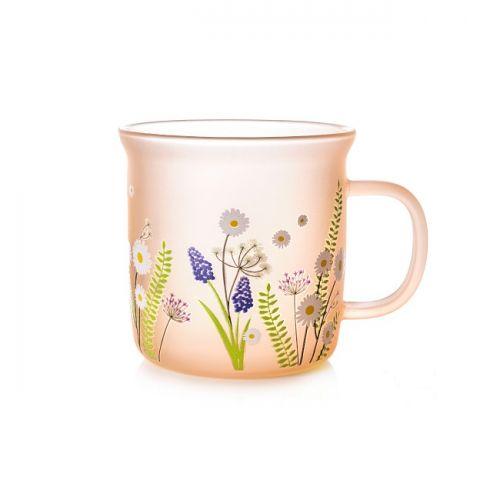 Peony Pink Glass Rustic Mug