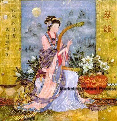 Oriental Magnolias Cross Stitch Pattern Asian ETP