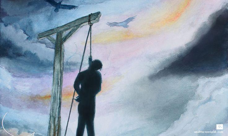 Gaspard de la Nuit Watercolor Illustration - Le Gibet