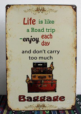 """New Luggage Baggage"""" Life Is Like a Road Trip"""" Vintage Suitcases Metal Kitchen Bar Decor Tin Sign Retro Signs Bar Wall Home Decor 20cm X 30cm"""