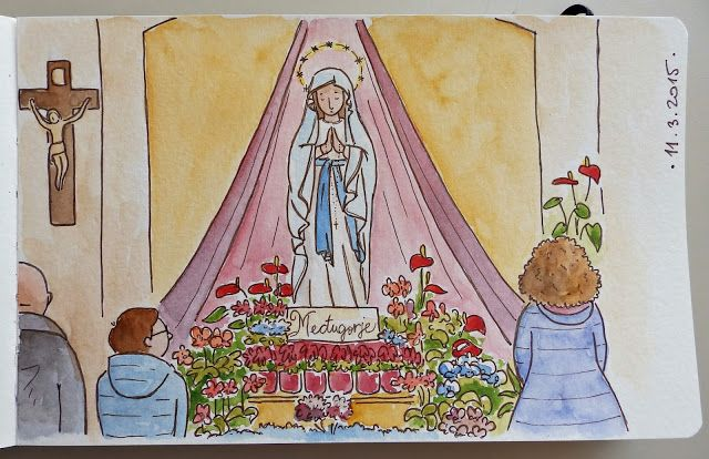 Sonja Häusl-Vad Illustrations, sketching at Medjugorje