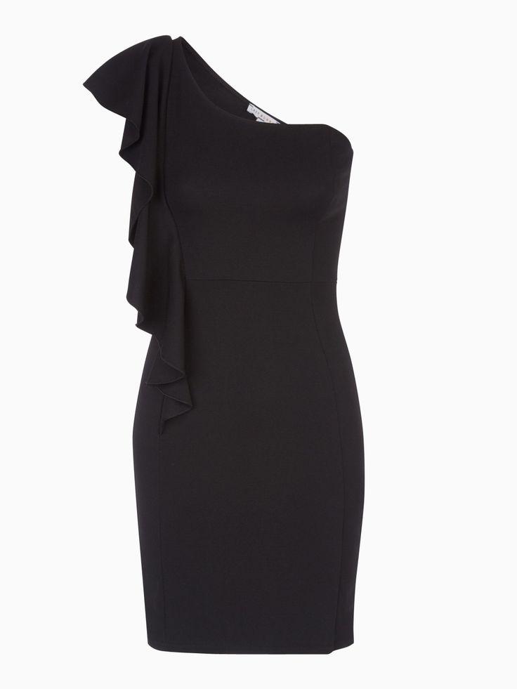 Robe One Shoulder à Volant Noir - Achat Robe One Shoulder à Volant Noir pas cher - La Halle