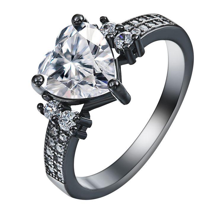 Wit rood groen blauw Liefde sieraden vintage zwart pistool Ringen belofte minnaar Romantische tsjechische zirkoon Hart Verlovingsring voor vrouwen