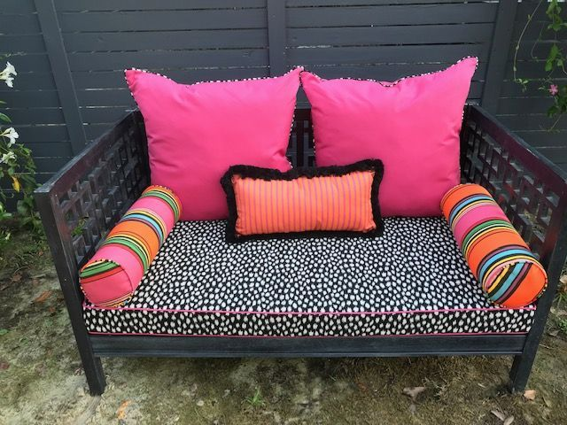 We Love The Bright Bold Eclectic Colors On This Outdoor Sunbrella Daybed Outdoor Daybed Cushion Outdoor Furniture Cushions Daybed Cushion