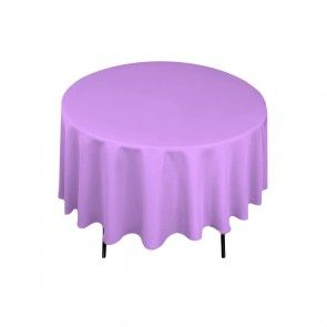 90 inch round polyester tablecloth lavender on a 60 inch for Table cuisine 90 x 60