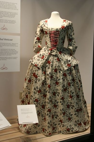 class research - Such ensembles as this were a popular choice for informal and everyday wear, worn in and out of the house.  This example is significant for being made of printed cotton (chintz/calico) since this textile became increasingly popular and fashionable over the course of the eighteenth century.