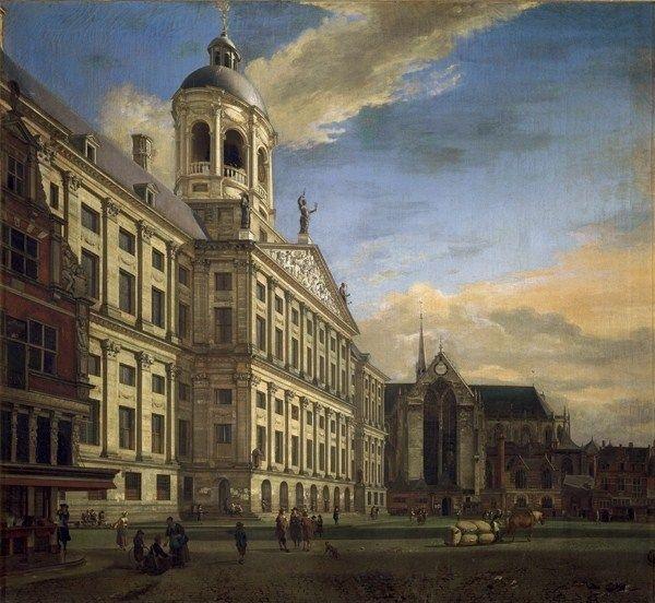 Jan van der Heyden (1637-1712), The Town Hall of Amsterdam with the Dam, 1667. Florence, Galleria degli Uffizi