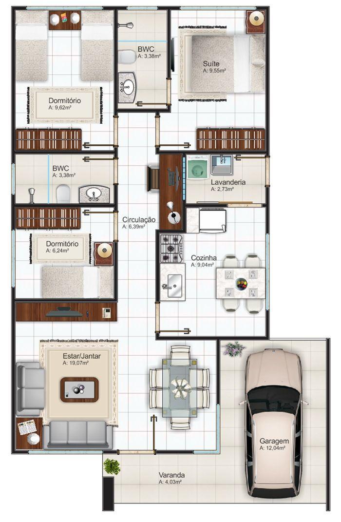 Plantas de Casas com 3 quartos - Fotos e Modelos de casas