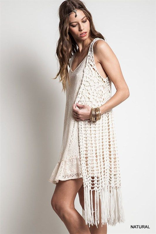 - Style: You'll be feelin groovy in this taupe hippie inspired open crochet long fringe vest. It's your bohemian free spirit yearning to be free. - Material: 60% Cotton/40% Polyester - Enclosure: Open