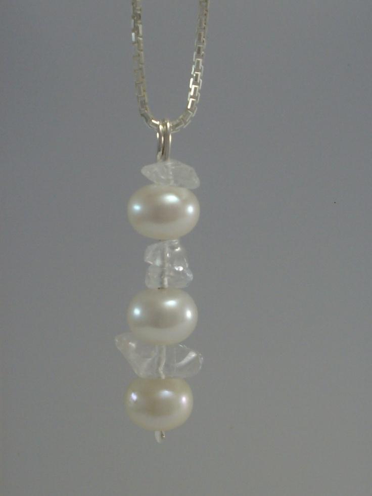 SOLD S/S Freshwater  Pearl and Quartz Pendant www.carellajewellers.com