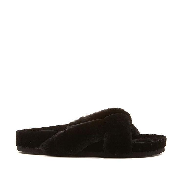 Wendy Williams Fuzzy Velvet Slipper Sandal - Black