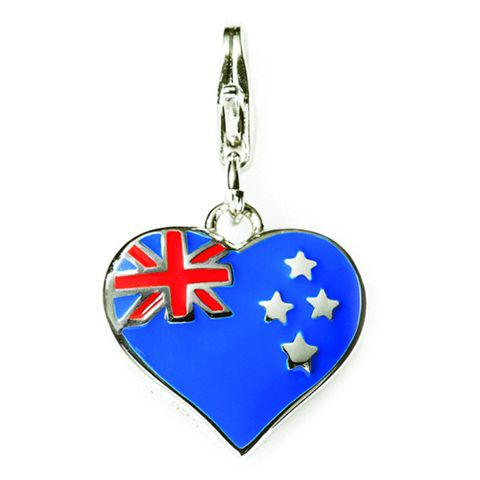 Heart Shaped Sterling Silver Charm Featuring NZ Flag By ZALA | Shop New Zealand