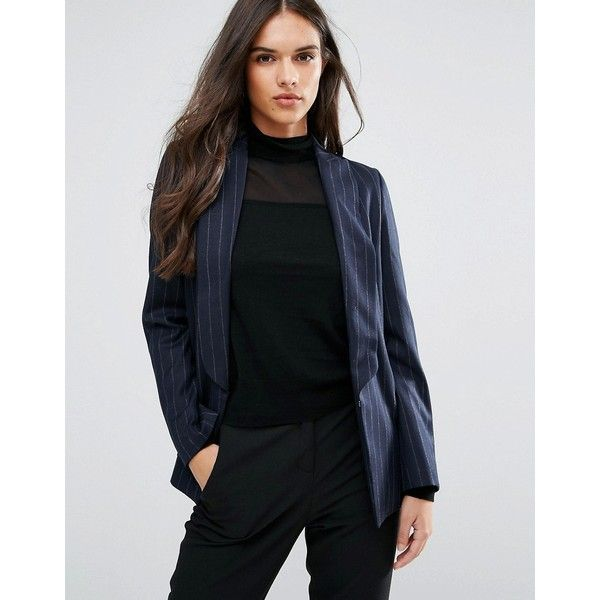 Sisley Pin Stripe Single Button Blazer ($170) ❤ liked on Polyvore featuring outerwear, jackets, blazers, navy, navy blue blazer, navy jacket, navy pinstripe jacket, long sleeve jacket and sisley