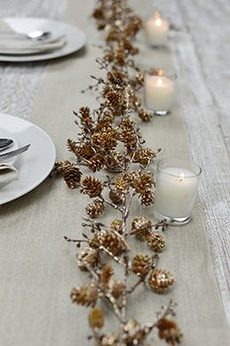 11.99 SALE PRICE! Use the Pine Cone Garland to decorate your holiday table along with softly glowing votive candles and country inspired accessories. This 6'...