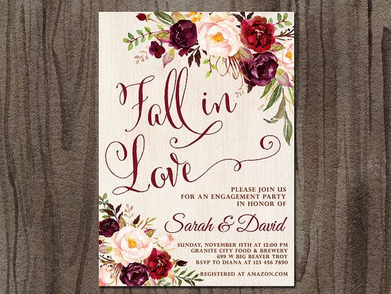 Engagement Party Invitation, Fall in Love Autumn Engagement Party Invitation, Boho, Tribal, Rustic, Burgundy