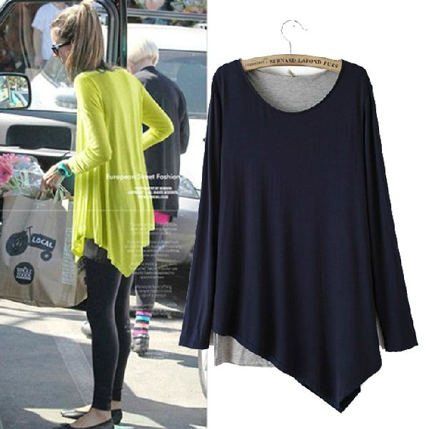Aliexpress.com: Comprar Diseñador europea Faux de dos piezas de manga larga geométricas asimétricas básicas camisetas mujeres nueva moda primavera verano 2014 de camiseta de estampado fiable proveedores en Fast Fashion In-city