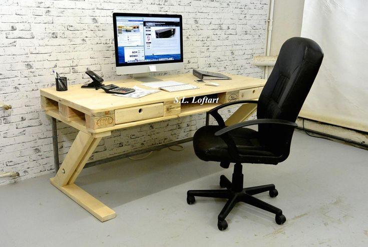 Palettenmöbel Schreibtisch 'Office'  von S.L. Loftart auf DaWanda.com
