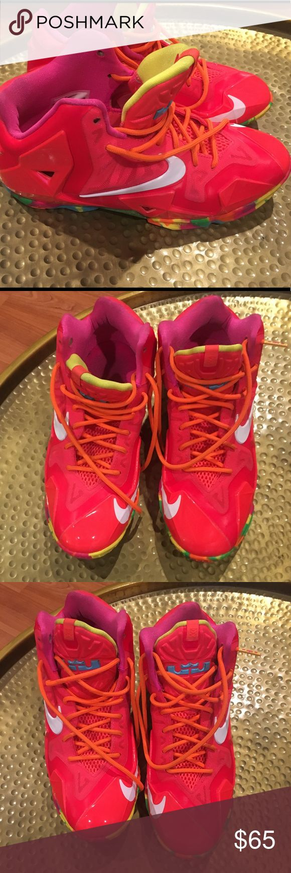 Nike Lebrons Fruity Pebbles Worn by my daughter once. Perfect condition. Some tiny marks. Nike Shoes Sneakers