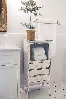 VINTAGE COUNTRY STYLE Bathroom STORAGE CABINET Distressed Off White Metal NEW 0