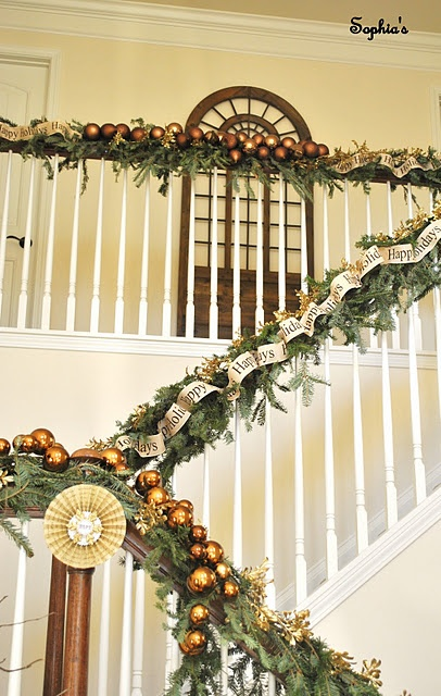 79 best christmas stairs images on pinterest - Christmas decorations for stair rail ...