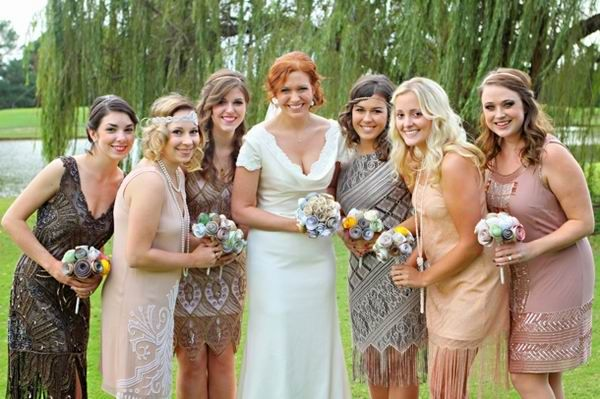 great gatsby vintage bridesmaid dresses